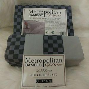 Metropolitan Bamboo Queen Gray Checkered Sheets